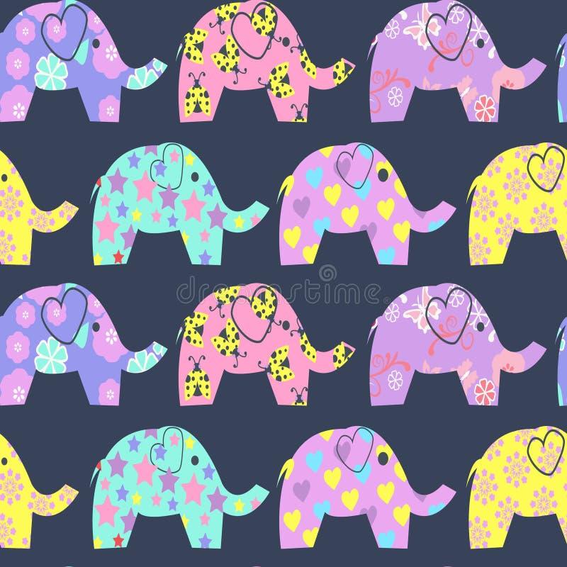 Εύθυμο άνευ ραφής σχέδιο με τους ζωηρόχρωμους χαριτωμένους ελέφαντες ελεύθερη απεικόνιση δικαιώματος