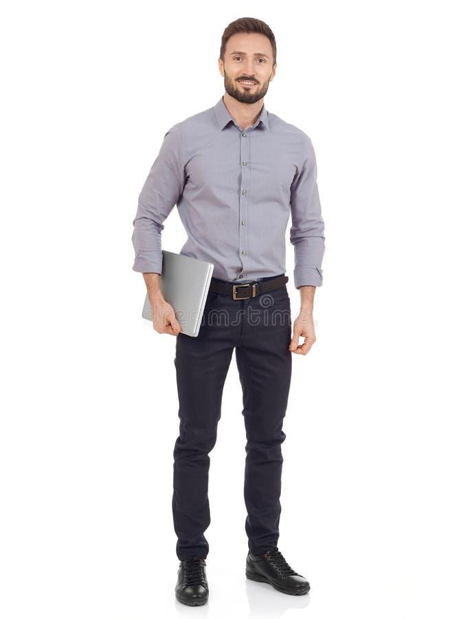 Εύθυμο άτομο με ένα lap-top στοκ φωτογραφία με δικαίωμα ελεύθερης χρήσης