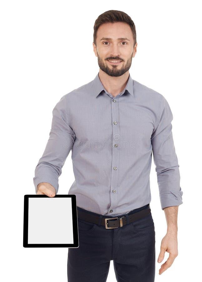 Εύθυμο άτομο με μια ψηφιακή ταμπλέτα στοκ εικόνες