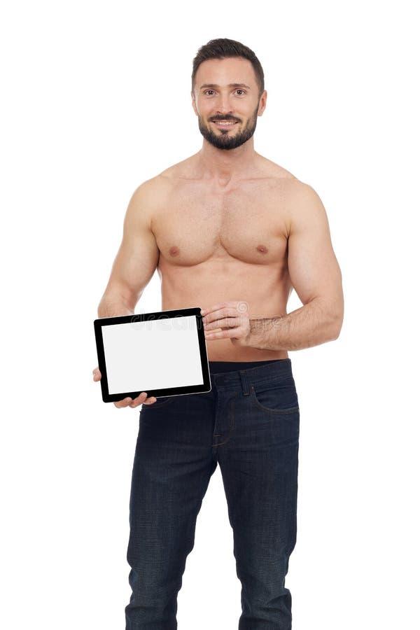 Εύθυμο άτομο με την ψηφιακή ταμπλέτα στοκ φωτογραφία με δικαίωμα ελεύθερης χρήσης