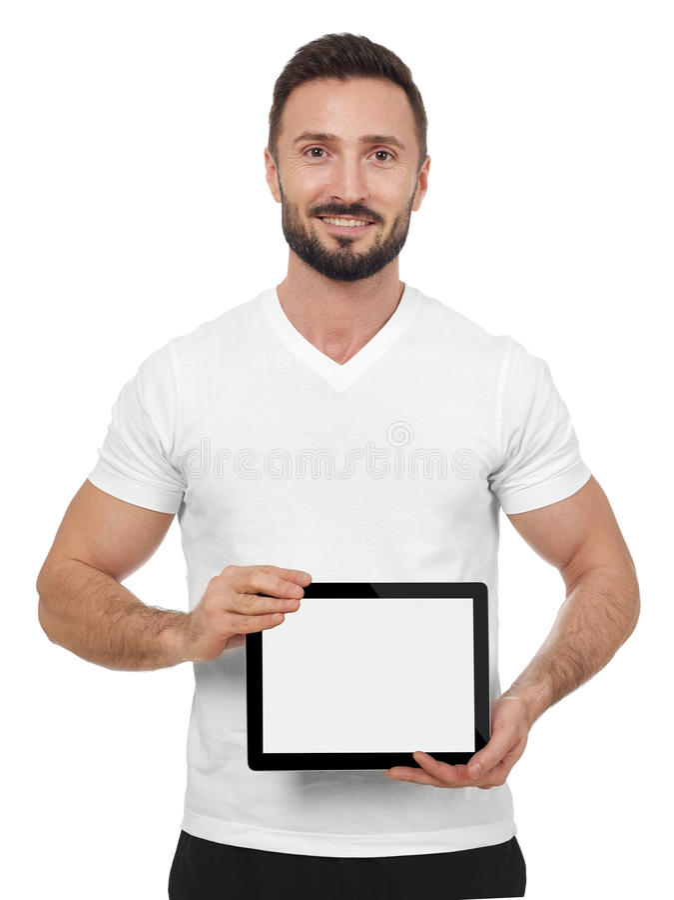 Εύθυμο άτομο με την ψηφιακή ταμπλέτα στοκ εικόνες