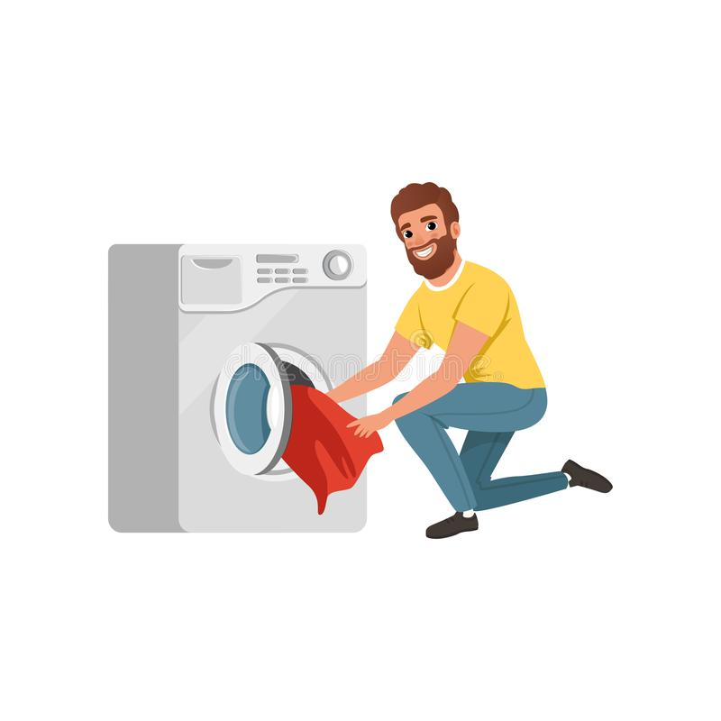 Εύθυμο γενειοφόρο άτομο που βάζει τα βρώμικα ενδύματα στο πλυντήριο Χαρακτήρας κινουμένων σχεδίων του συζύγου σπιτιών Νέος τύπος  διανυσματική απεικόνιση
