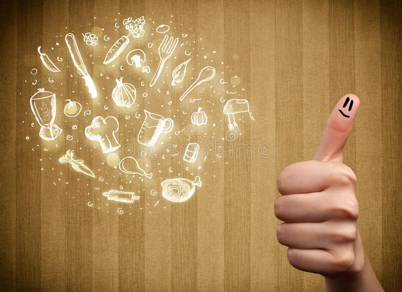 Εύθυμο δάχτυλο smileys με τα συρμένα χέρι εικονίδια τροφίμων και κουζινών στοκ εικόνες