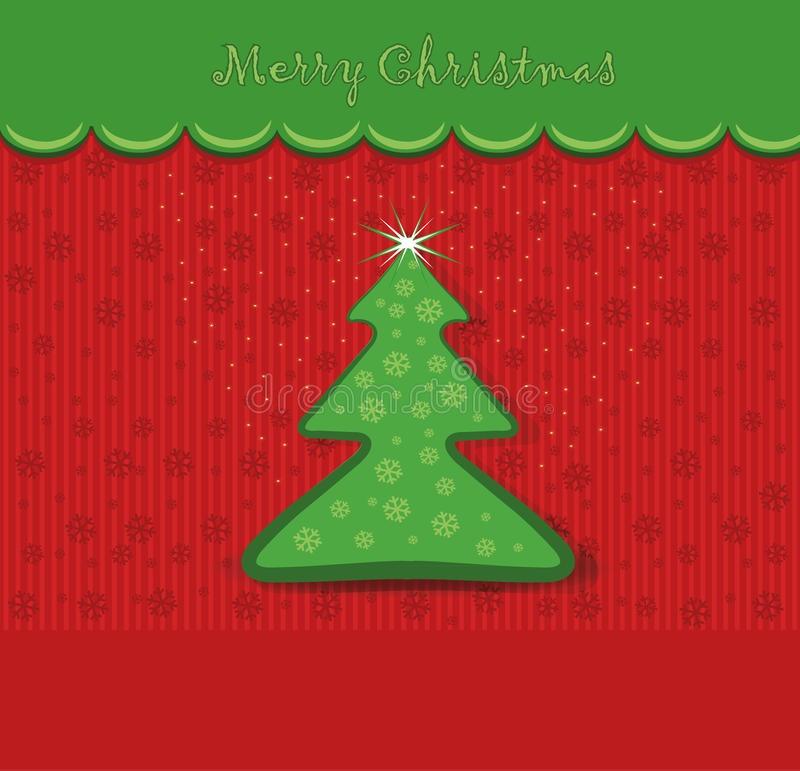 εύθυμο δέντρο Χριστουγέννων καρτών ελεύθερη απεικόνιση δικαιώματος