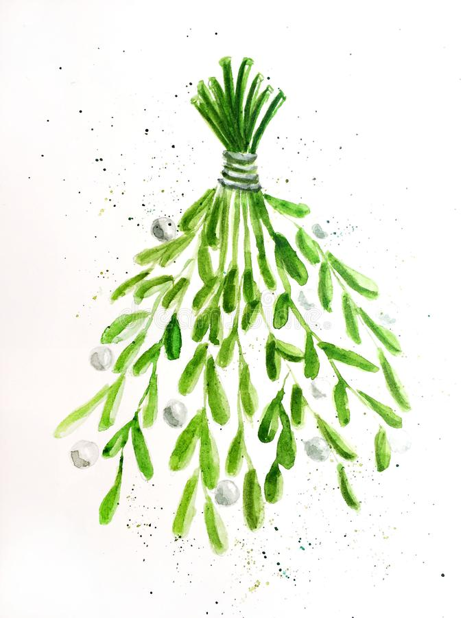 Εύθυμο νέο έτος Χριστουγέννων Viscum διανυσματική απεικόνιση