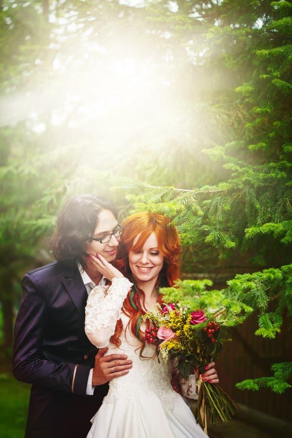 Εύθυμο νέο παντρεμένο ζευγάρι στοκ εικόνα
