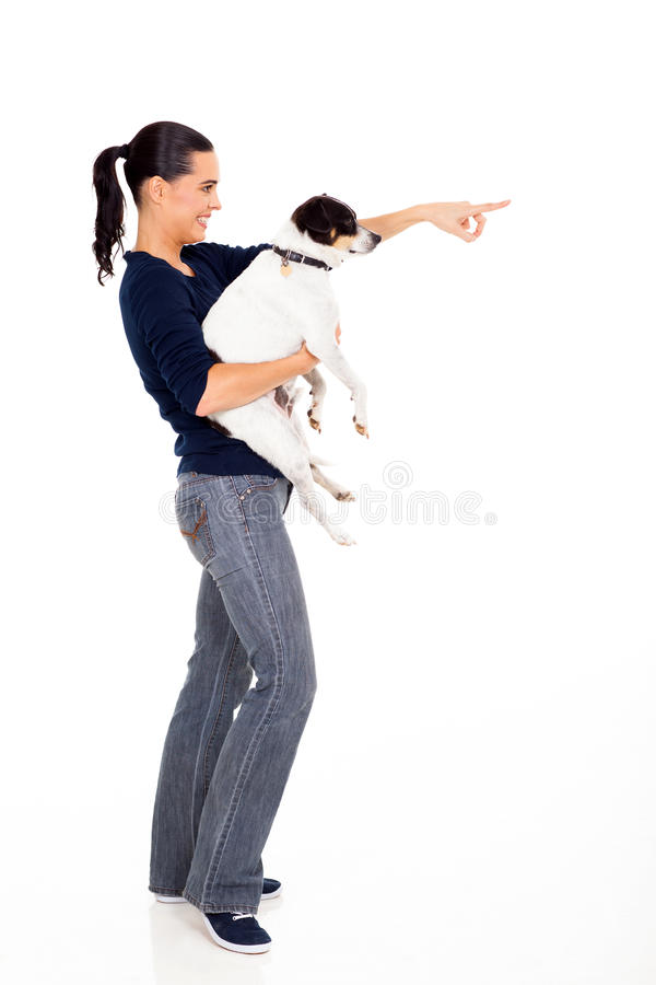 Υπόδειξη σκυλιών γυναικών στοκ εικόνες