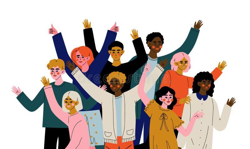 Εύθυμο πλήθος των ανθρώπων των διαφορετικών υπηκοοτήτων, των ευτυχών νεαρών άνδρων και των γυναικών που στέκονται μαζί το κοινωνι απεικόνιση αποθεμάτων