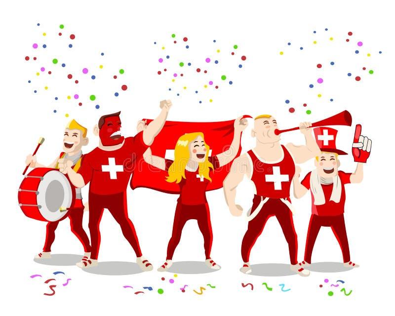 Εύθυμο πλήθος υποστηρικτών ομάδας ποδοσφαίρου της Ελβετίας εθνικό που έχει τη διασκέδαση απεικόνιση αποθεμάτων