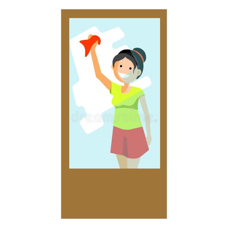 Εύθυμο σκουπίζοντας παράθυρο γυναικών διανυσματική απεικόνιση