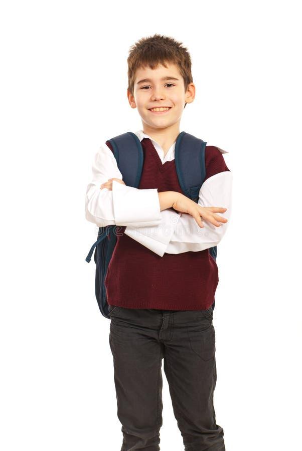 Εύθυμο σχολικό αγόρι στοκ φωτογραφία
