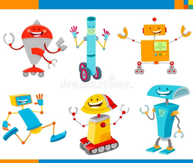 Εύθυμο σύνολο χαρακτήρων ρομπότ κινούμενων σχεδίων ελεύθερη απεικόνιση δικαιώματος