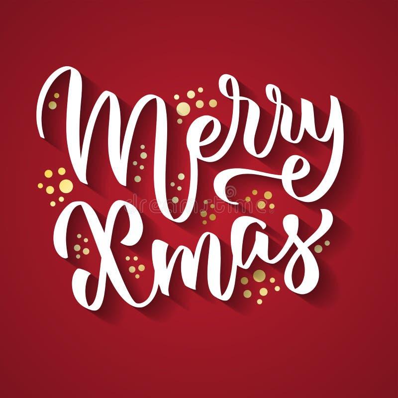 Εύθυμο χειρόγραφο κείμενο Χριστουγέννων, λέξεις, τυπογραφία στοκ εικόνα με δικαίωμα ελεύθερης χρήσης