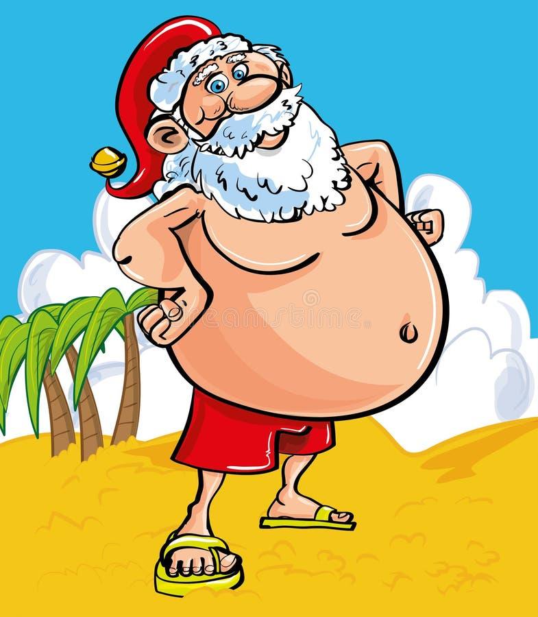 Εύθυμο Santa στην παραλία διανυσματική απεικόνιση