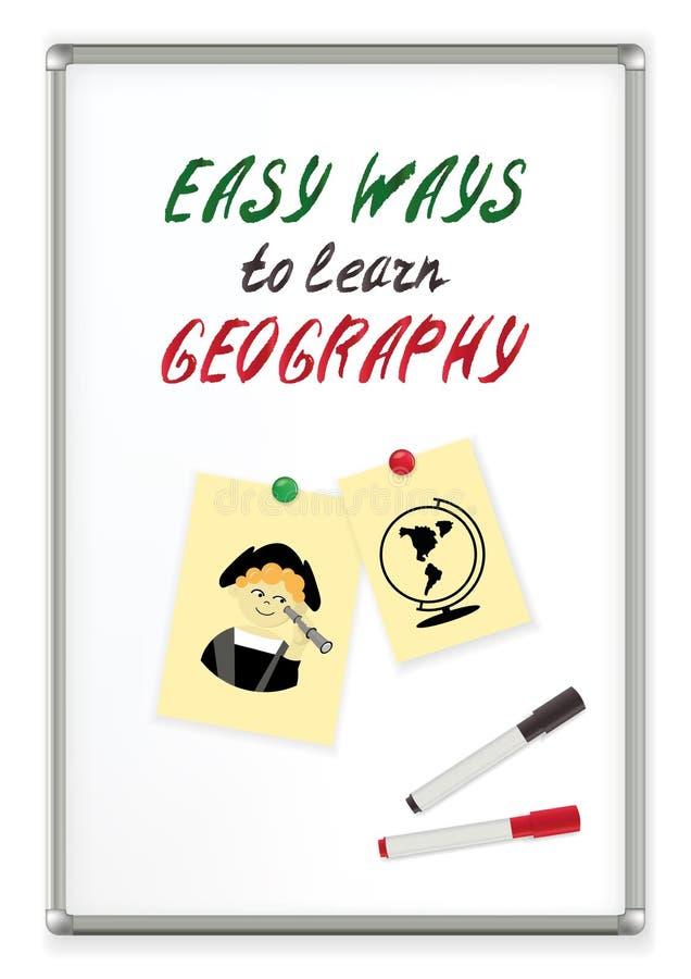 Εύκολοι τρόποι κειμένων γραφής να μαθευτεί η γεωγραφία σε έναν μαγνητικό δείκτη whiteboard η εκπαίδευση έννοιας βιβλίων απομόνωσε διανυσματική απεικόνιση