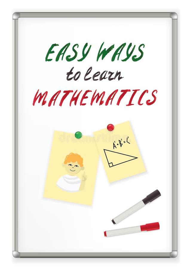 Εύκολοι τρόποι κειμένων γραφής να μαθευτούν τα μαθηματικά σε έναν μαγνητικό δείκτη whiteboard η εκπαίδευση έννοιας βιβλίων απομόν ελεύθερη απεικόνιση δικαιώματος