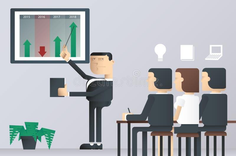 Εύκολος να εκδώσει τη διανυσματική απεικόνιση της κατηγορίας επιχειρησιακής παρουσίασης, επιχειρηματίας που δείχνει σε έναν πίνακ στοκ φωτογραφίες