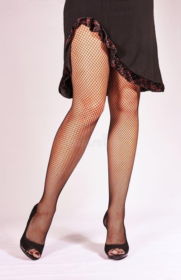 Εύμορφα πόδια στις γυναικείες κάλτσες στοκ εικόνα