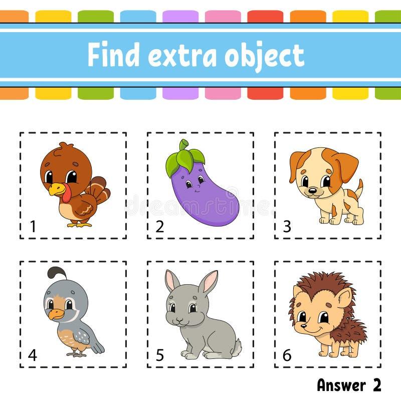 Εύρεση επιπλέον αντικειμένου Φύλλο εργασίας εκπαιδευτικών δραστηριοτήτων για παιδιά και νήπια Παιδικό παιχνίδι Χαρούμενοι χαρακτή απεικόνιση αποθεμάτων
