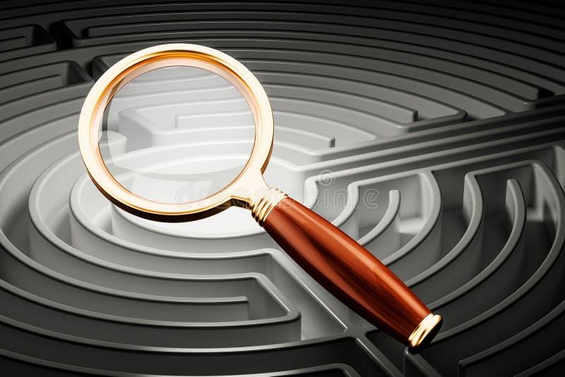 Εύρεση της έννοιας λύσεων, λαβύρινθος με την πιό magnifier, τρισδιάστατη απόδοση διανυσματική απεικόνιση