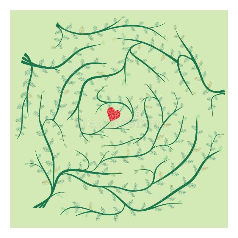 Εύρεση της πορείας του γρίφου λαβυρίνθου αγάπης διανυσματική απεικόνιση