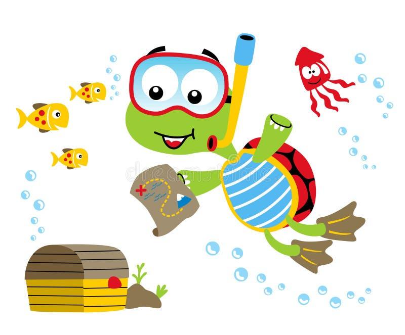 Εύρεση του θησαυρού κάτω από τη θάλασσα με τη χελώνα και τους φίλους διανυσματική απεικόνιση