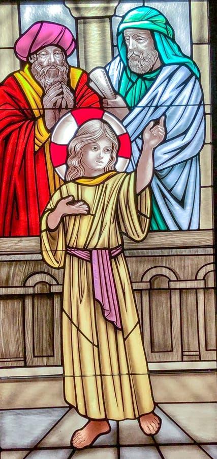 Εύρεση του παιδιού Ιησούς στο ναό στοκ εικόνες