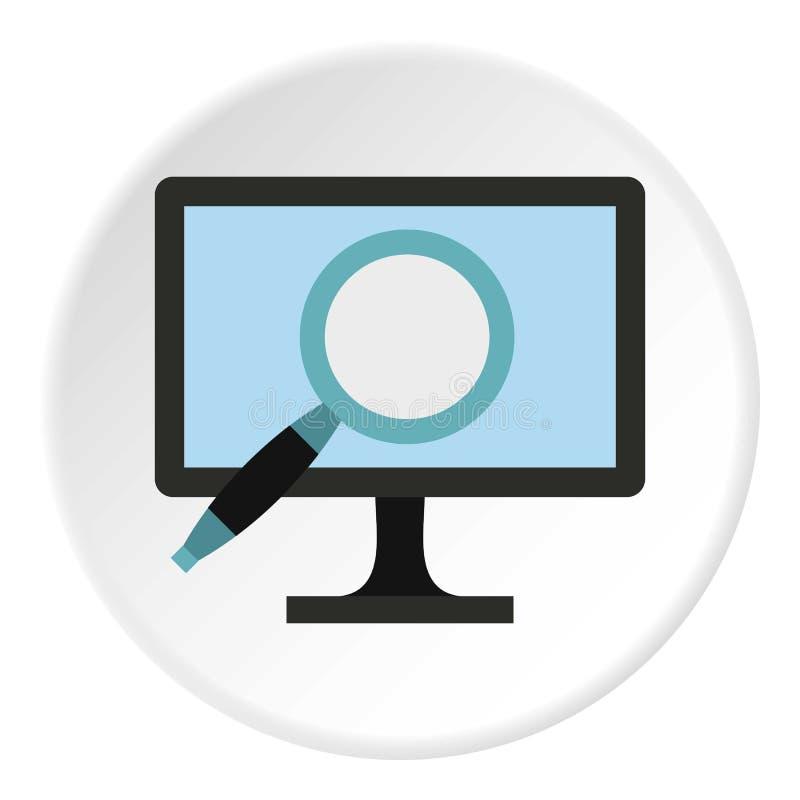 Εύρεση των πληροφοριών για το εικονίδιο υπολογιστών, επίπεδο ύφος απεικόνιση αποθεμάτων