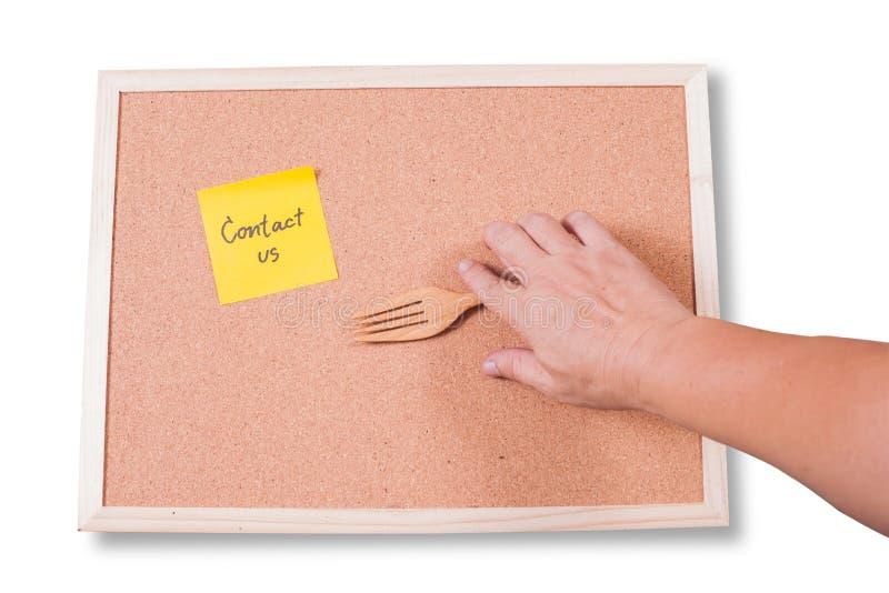 ελάτε σε επαφή με το ταχυδρομείο τηλεφωνά σε μας γραπτός κίτρινο σε έναν κολλώδη στοκ εικόνες