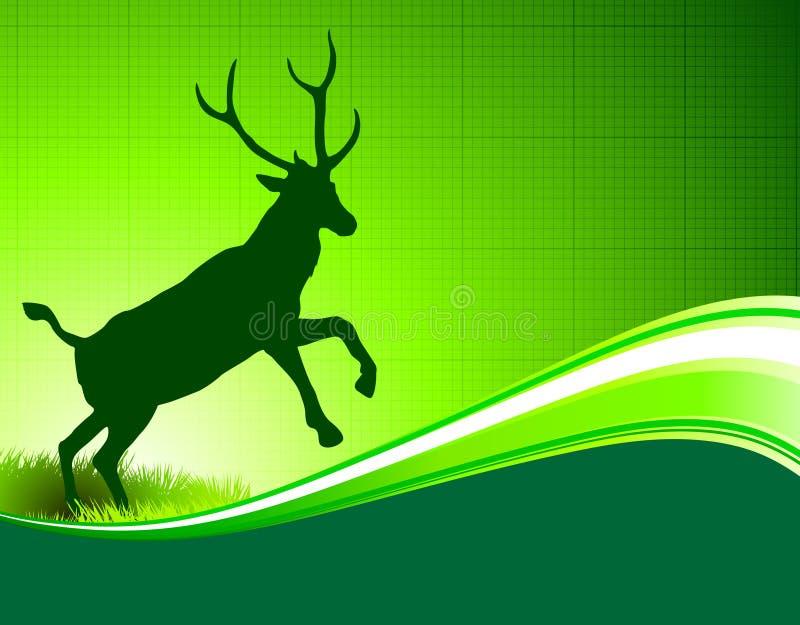 Ελάφια στο αφηρημένο πράσινο υπόβαθρο απεικόνιση αποθεμάτων