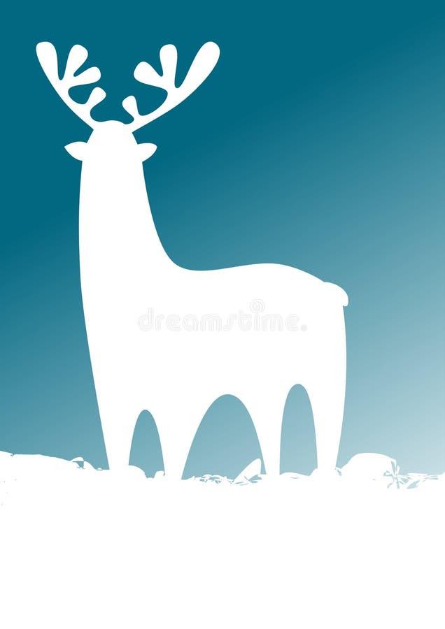 Ελάφια στο χιόνι διανυσματική απεικόνιση