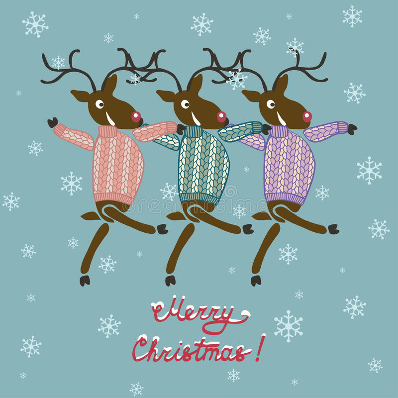 Ελάφια Χριστουγέννων στο πουλόβερ διανυσματική απεικόνιση
