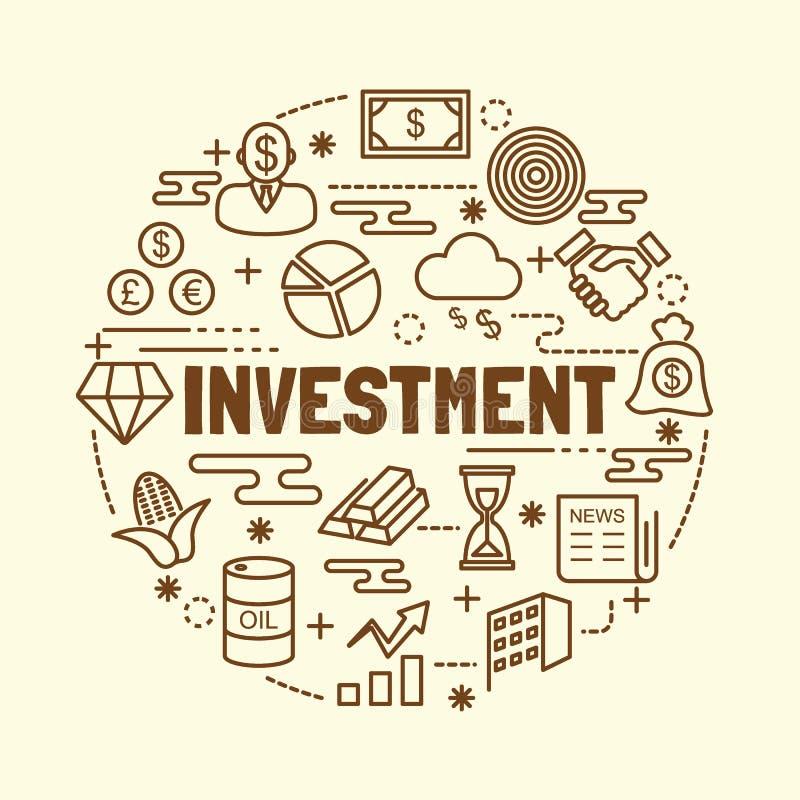 Ελάχιστα λεπτά εικονίδια γραμμών επένδυσης καθορισμένα απεικόνιση αποθεμάτων