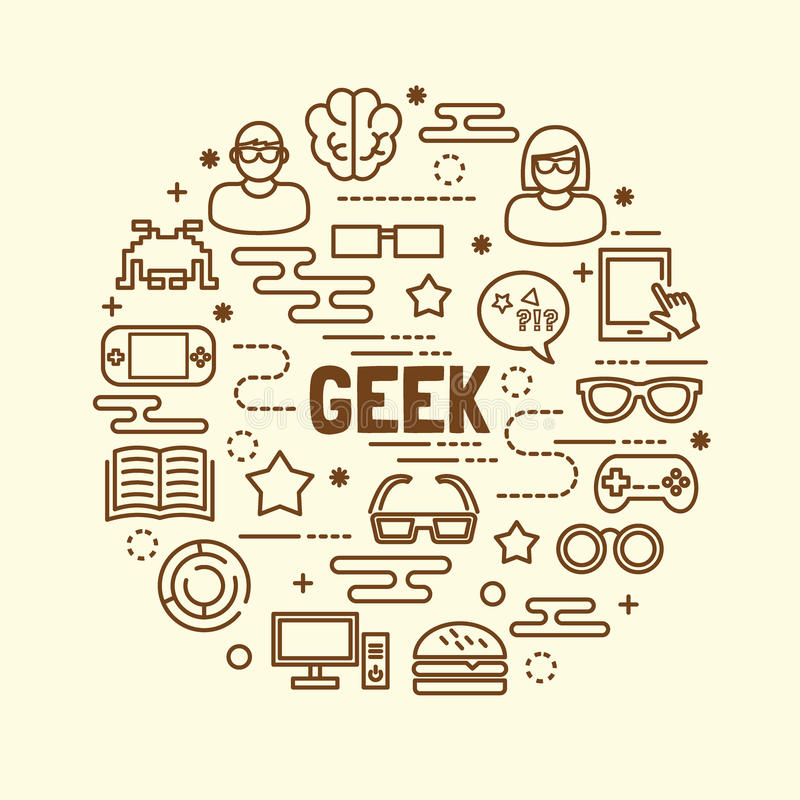 Ελάχιστα λεπτά εικονίδια γραμμών Geek καθορισμένα απεικόνιση αποθεμάτων
