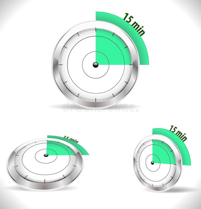 15 ελάχιστα χρονόμετρα, συναγερμός δεκαπέντε λεπτών διανυσματική απεικόνιση