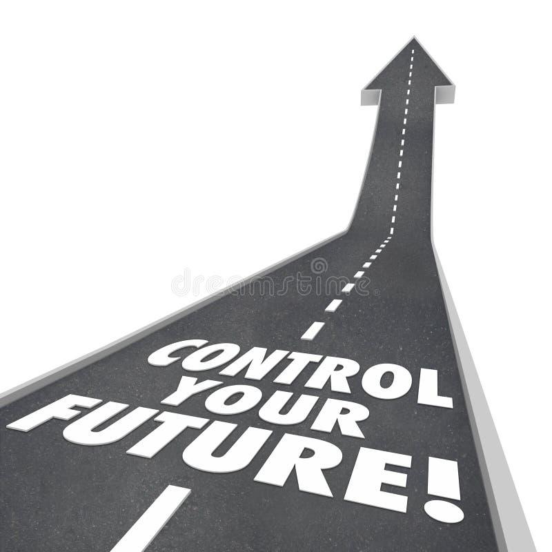 Ελέγξτε το μελλοντικό δρόμο λέξεών σας αυξανόμενος επάνω στην ανεξαρτησία φιλοδοξίας διανυσματική απεικόνιση