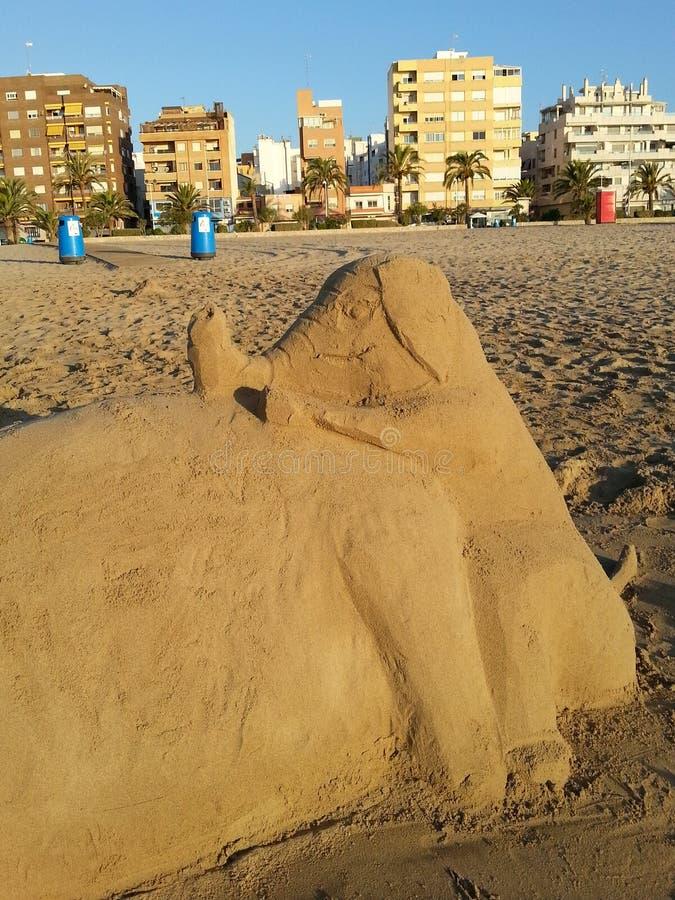 ελέφαντας γλυπτός με την άμμο στοκ φωτογραφία
