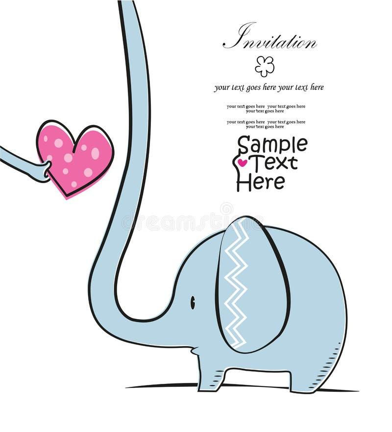 Ελέφαντας και μια ρόδινη καρδιά διανυσματική απεικόνιση