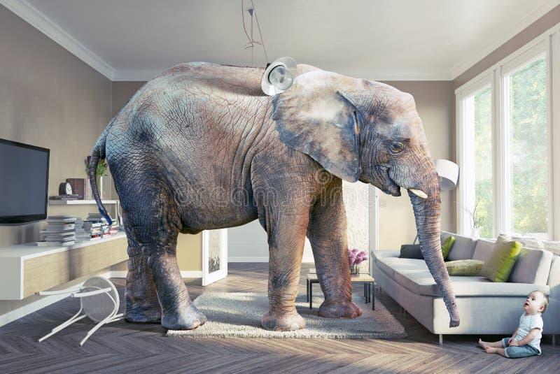 Ελέφαντας και το μωρό ελεύθερη απεικόνιση δικαιώματος