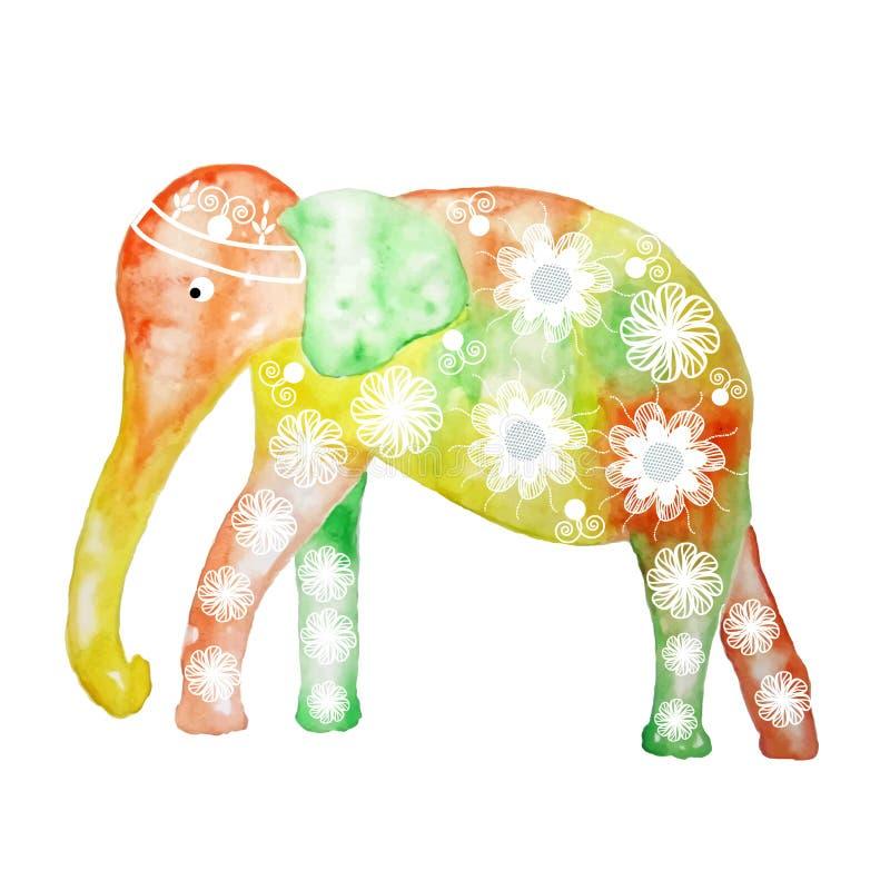Ελέφαντας κινούμενων σχεδίων Watercolor, απεικόνιση ελεύθερη απεικόνιση δικαιώματος
