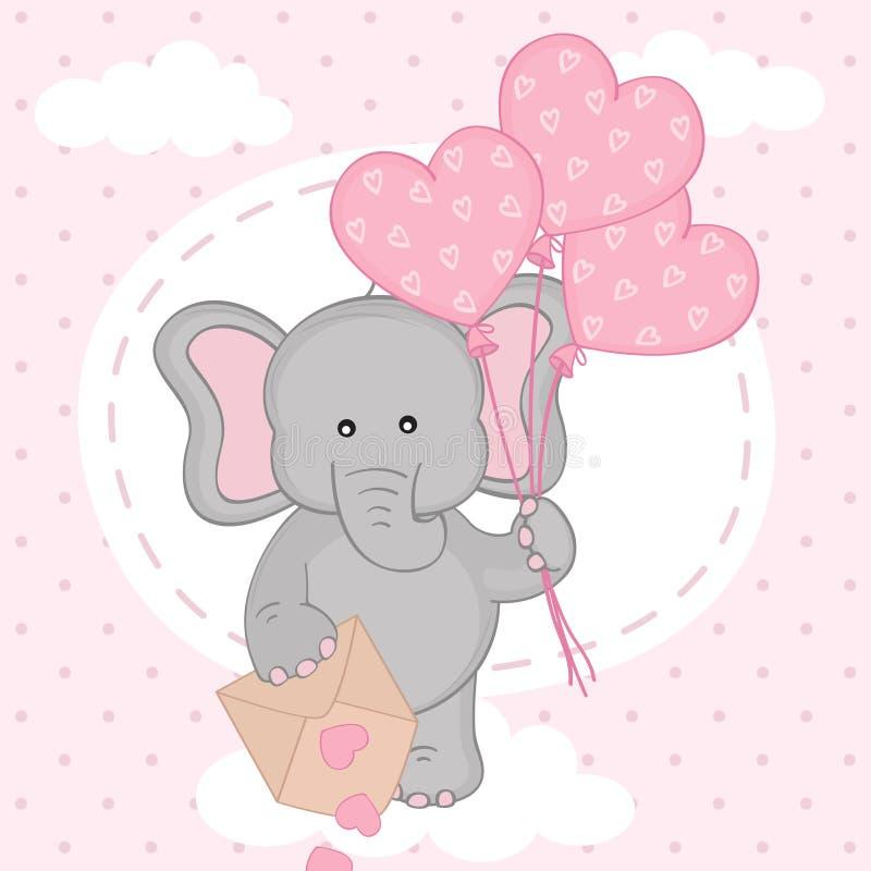 Ελέφαντας με τα μπαλόνια στο σύννεφο διανυσματική απεικόνιση