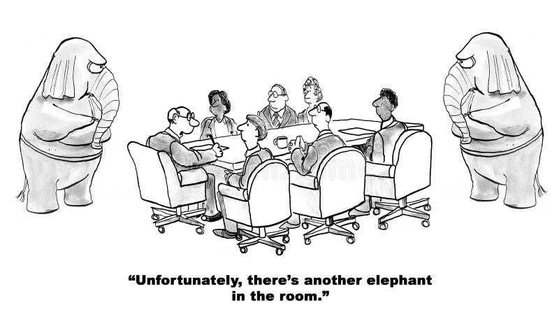 Ελέφαντας στο δωμάτιο διανυσματική απεικόνιση