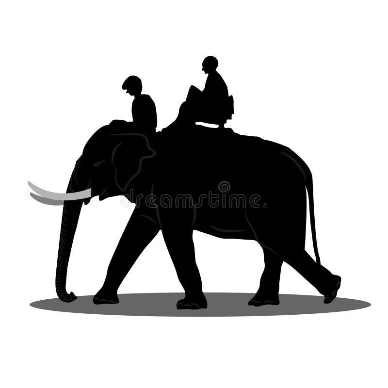 Ελέφαντας ταξιδιωτικού γύρου οδοιπορίας ελεφάντων, οδηγός ελεφάντων, μαύρη σκιαγραφία στο άσπρο υπόβαθρο διάνυσμα ελεύθερη απεικόνιση δικαιώματος