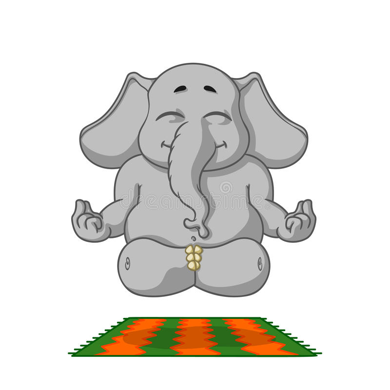 Ελέφαντας Χαρακτήρας Κάνει τη γιόγκα Μεγάλη συλλογή των απομονωμένων ελεφάντων Διάνυσμα, κινούμενα σχέδια ελεύθερη απεικόνιση δικαιώματος
