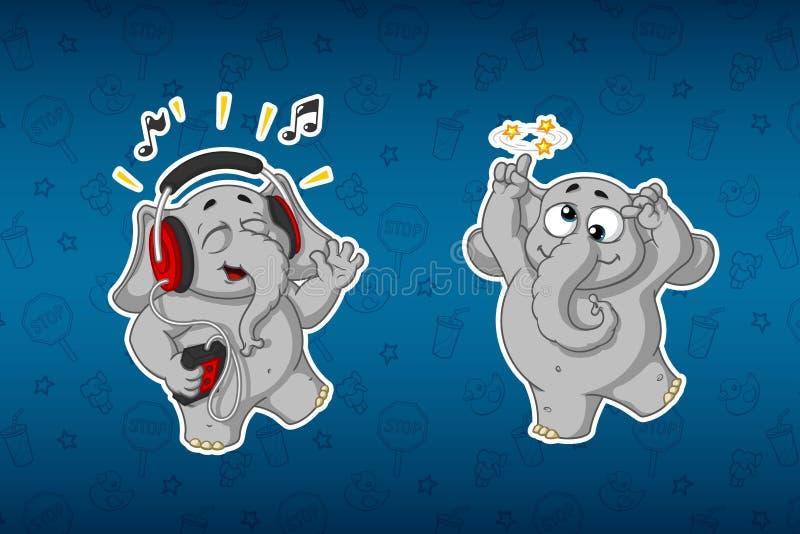 Ελέφαντες αυτοκόλλητων ετικεττών Εύθυμος, ακούοντας τη μουσική Αυτός ` s που πηγαίνει τρελλό Μεγάλο σύνολο αυτοκόλλητων ετικεττών διανυσματική απεικόνιση