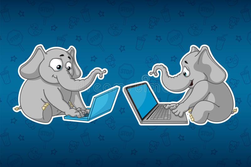 Ελέφαντες αυτοκόλλητων ετικεττών Κάθεται στον υπολογιστή Εργασία για το διαδίκτυο Επικοινωνία στο δίκτυο Μεγάλο σύνολο αυτοκόλλητ απεικόνιση αποθεμάτων