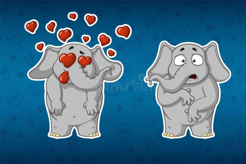 Ελέφαντες αυτοκόλλητων ετικεττών Πολύ ερωτευμένος Είναι έκπληκτος Μεγάλο σύνολο αυτοκόλλητων ετικεττών Διάνυσμα, κινούμενα σχέδια ελεύθερη απεικόνιση δικαιώματος