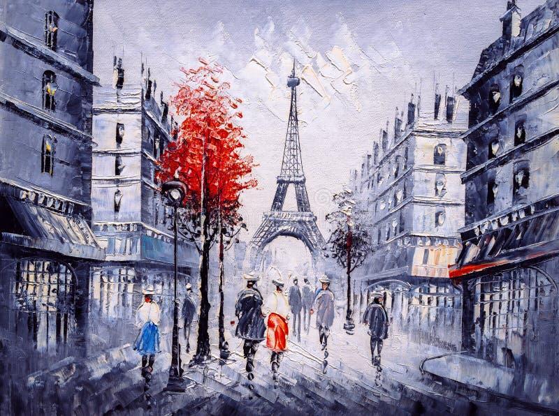Ελαιογραφία - άποψη οδών του Παρισιού διανυσματική απεικόνιση
