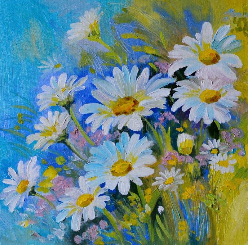 Ελαιογραφία - αφηρημένη απεικόνιση των λουλουδιών, μαργαρίτες, πράσινα ελεύθερη απεικόνιση δικαιώματος