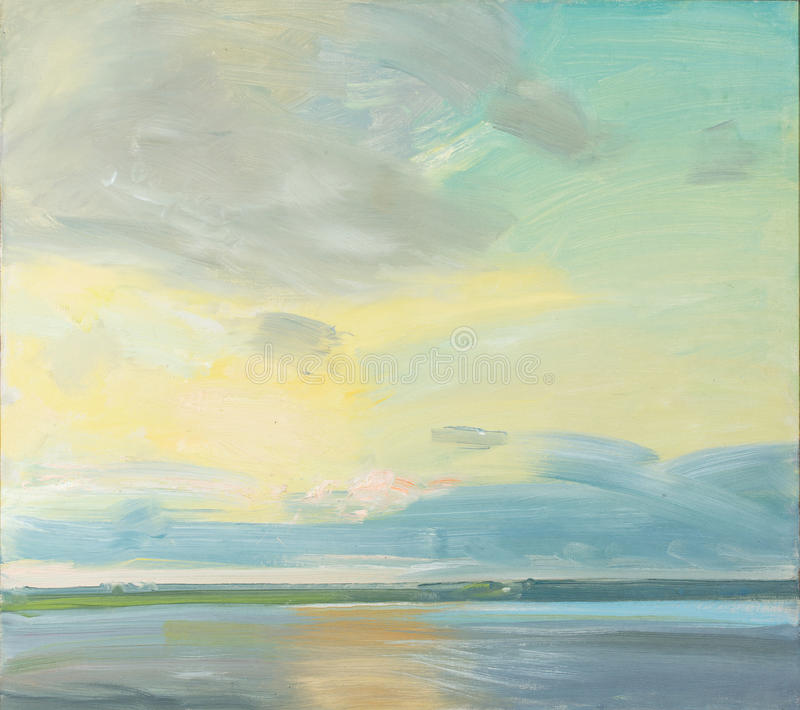 Ελαιογραφία ενός ηλιοβασιλέματος πέρα από μια λίμνη διανυσματική απεικόνιση